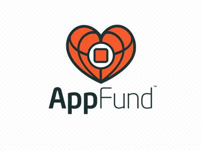 Final Appfund logo logo design illustration vector branding iphone icon black red white heart app charity