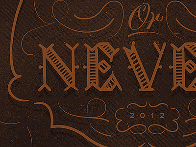 Now Or Never typeface custom type design lettering typography illustration texture vector brown bronze phraseology