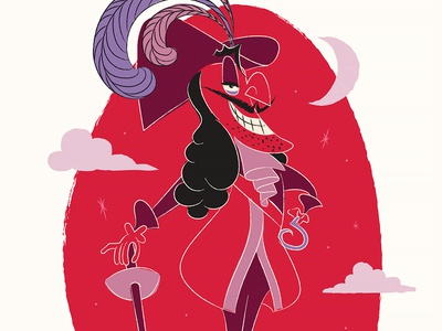 Disney Villain's project purple black red vintage 1950 character art captain hook disney illustration