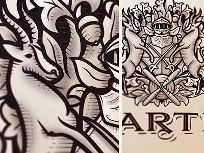 Decarteret  logo trademark crest coatofarms illustration typography design vector animals heraldry texture type vintage engraving etching gravure armor knight bontebok aeronautic family shield