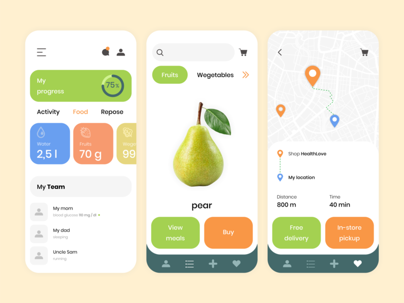 Healthy food/ health/ activity app. design icon product design icons app ui design ux design