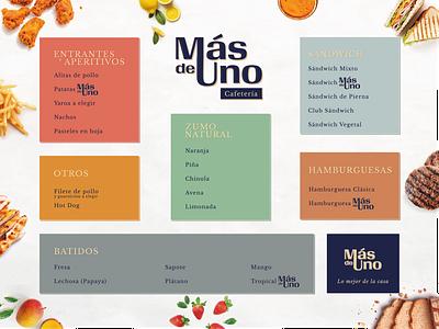 Más de Uno typography design branding menu logo