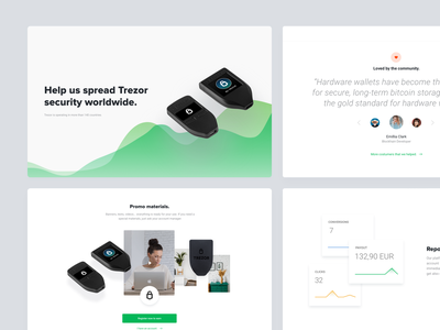 Affiliate program clean header nice clean header header endorsments community loved by community dashboard reporting clean graph graphs promo materials landing page ethereum bitcoin cryptocurrency wallet hardware wallet clean design affiliate trezor