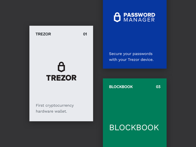 product cards cards ui  ux ui hardware wallet crypto currency crypto password manager blockbook trezor satoshilabs clean app landing clean design clean app design