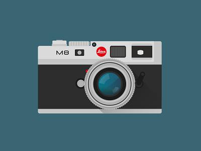 Leica M8 Camera camera leica m8 hipster illustration flat minimal minimalism flat design martino pennati