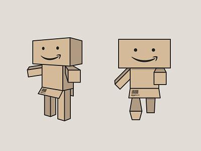 Amazon mascotte flat illustration box mascotte minimal funny martinopennati amazon paperbox logo