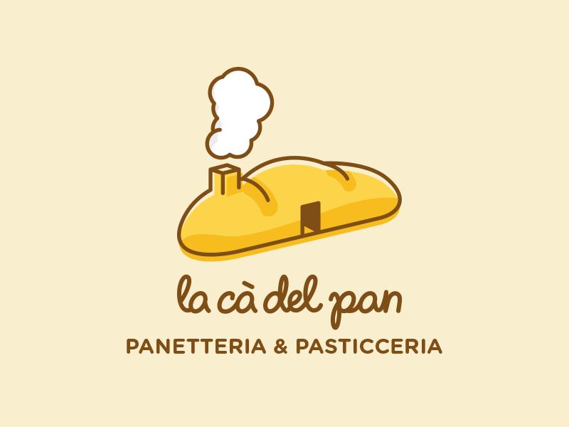 la cà del pan door identity loaf brand food bakery house home bread logo