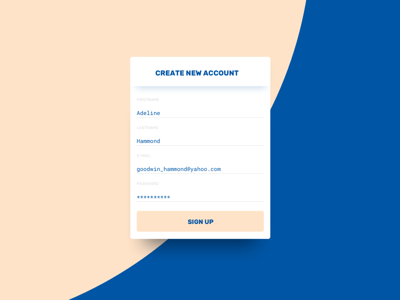 Sign Up // 001 DailyUI Challenge ux ui day 001 daily challenge sign up dailyui