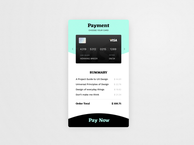 Credit Card Checkout // 002 DailyUI Challenge day 002 ux ui daily challenge credit card checkout dailyui