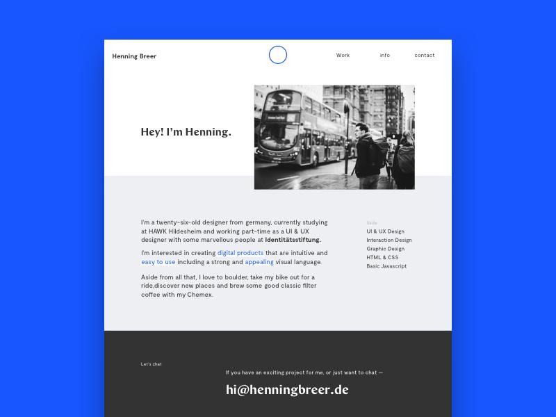 Portfolio About Page blue vibrant minimal minimalistic typography about ui design portfolio