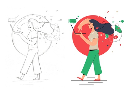 My first good job illustration hand drawn sketch people app illustration web illustration vectorart vector art vector