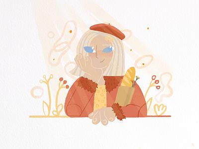 Sweet lady 🥖 adobe illustrator app illustration flat line art procreate 2dillustration digital illustration web illustration character characterdesign cartoon feminism illustration