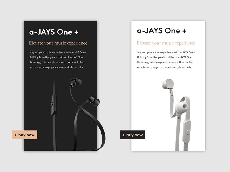 Jays Earphones — Product Page black music page product commerce eshop ux headphone earphones jays concept ui