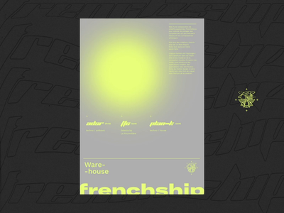 Frenchship Warehouse #2 animated poster print ads print festival party dark distortion distorted animation warehouse concept animated poster animate after affects
