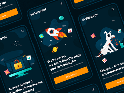 Error page — airSlatePDF mistake vector error page error 404 404 planet lock space rocket dog illustration ux mobile ui design app web mobile uiux interaction ui