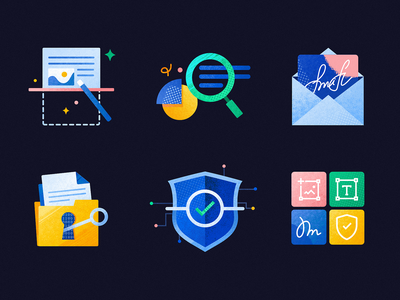 Productivity Tips — Icons set pdffiller signatur email productivity security document search icon set icon icons vector website illustration mobile ui app mobile design uiux ui interaction
