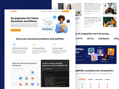 pdfFiller — Industry concept website business solution interface landing page blue ui industry web design uiux interaction solutions
