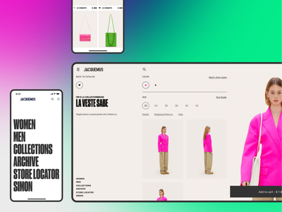 JACQUEMUS — Web site and mobile version flat typogaphy ios mobile ui mobile website web uiux ui fashion ecommerce interaction animation