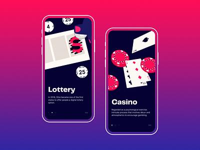 Mobile Casino App — Onboarding onboarding illustration onboarding screen lottery ux ui ui  ux mobile app gambling casino mobile app illustration onboarding