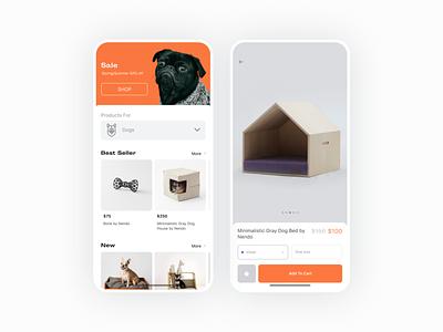 Pet Furniture — Mobile app furniture app furniture pet dog design interaction ui mobile app design ios ux uiux ecommerce app mobile app mobile ui mobile