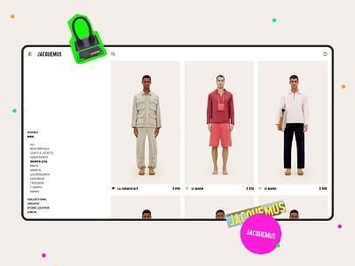 JACQUEMUS — Catalog page concept typogaphy interaction men women shop marketplace catalog design catalog webdesign web fashion uiux ui ecommerce