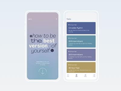 Zero — Mobile App Concept fitness app fitness healthcare health app health fasting ux typogaphy mobile ui app design uiux web mobile interaction ecommerce ui