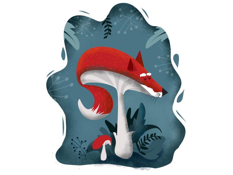 Chanterelle forestry illustraion fox mushroom