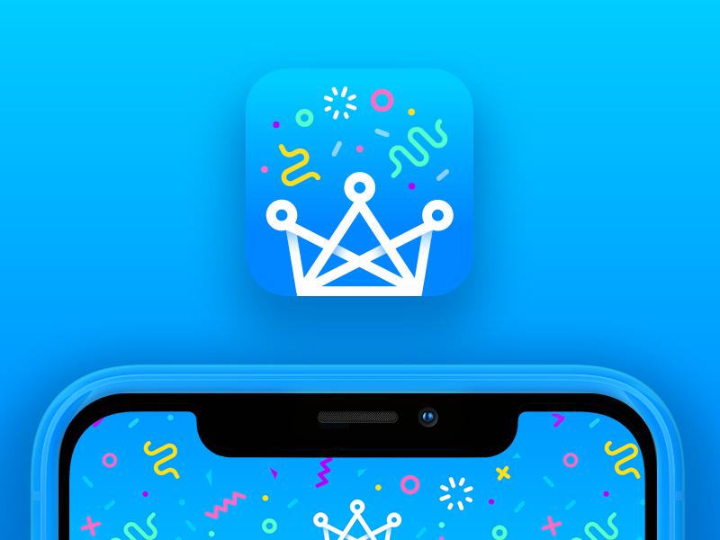 App Icon blue gradient confetti party icon app stitch share collaborate video