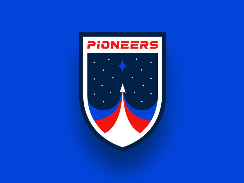 Northland Pioneers Athletics Branding college basketball football patch badge white red blue sports athletics