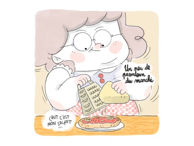 Grandma pizza comics portrait illustration portrait grandma