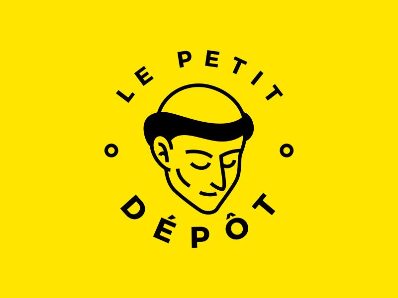 Le Petit Dépôt - research stamp yellow circular vector face monk logo