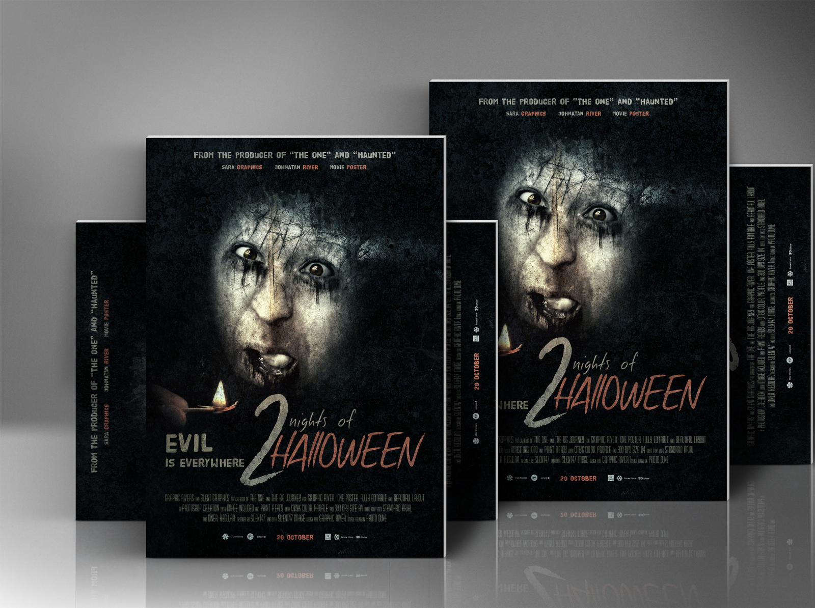 Horror Or Halloween Movie Poster by Silent Graphics on Dribbble