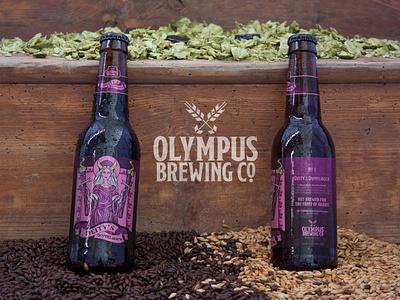 Olympus Brewing Co.: Deity's Doppelbock ad design product design beer branding beer label logo branding design branding