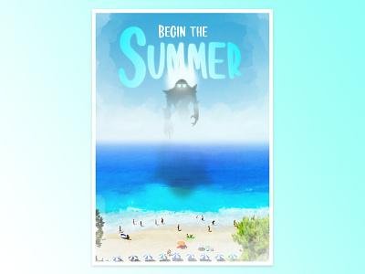 Begin the Summer Poster design typography illustration