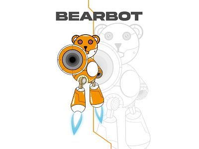 BEARBOT digital illustration digital art digitalcharacter vector typography characterdesign illustrator poster art poster design design digitalart illustration