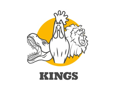 kings III humour character design dinossaur trex lion rooster animals characterdesign typography poster design design vector illustrator poster art digitalart illustration