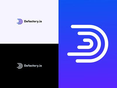 Defactory.io Logo branding adobe illustrator token crypto factory blockchaintechnology startup logo blockchain
