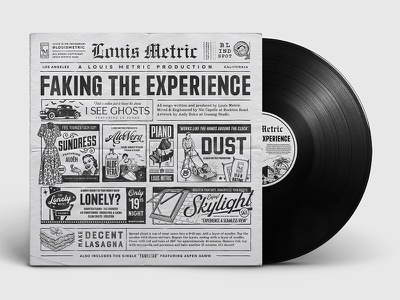Louis Metric Album Cover classic distressed album vintage ad vinyl vinyl record newspaper newspaper ad vintage illustration typography album cover design album cover album art
