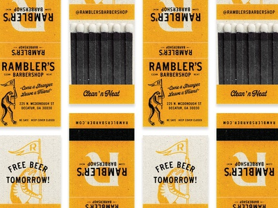 Rambler's Barbershop Matchbooks barbershop barber frog logo flag frog matchbooks matches handmade classic distressed logo vintage branding illustration typography