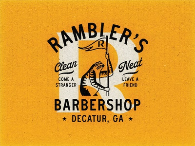 Ramblers Barbershop barbershop barber lockup apparel design matchbook matchbooks matches frog logo frog handmade classic distressed logo apparel vintage branding illustration typography