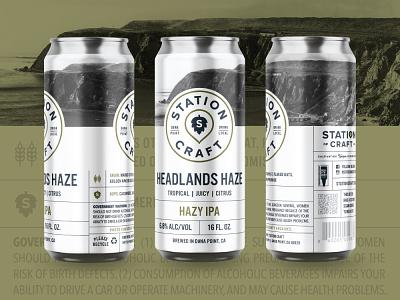 Headlands Haze ipa typography branding can design coastal dana point station brewery logo brewery branding brewery label design label beer can beer label beer