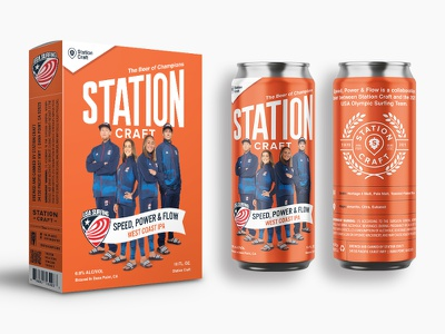Station Craft X USA Surf Team typography can art branding beer packaging beer box cereal box wheaties packaging can design beer can beer dana point station craft