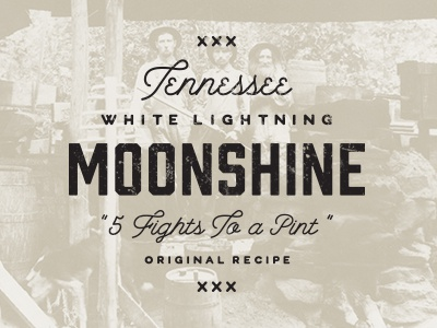 5 Fights to a Pint typography moonshine vintage branding distressed texture