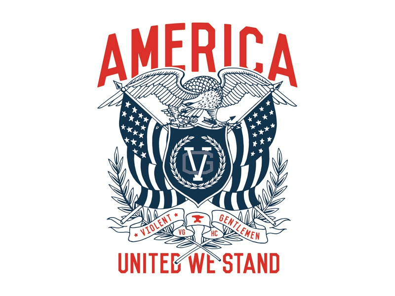 United We Stand banner flag classic traditional illustration eagle america
