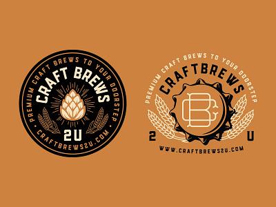 Craft Brews bottle hops wheat illustration typography badge logo mark logo craftbeer brew beer