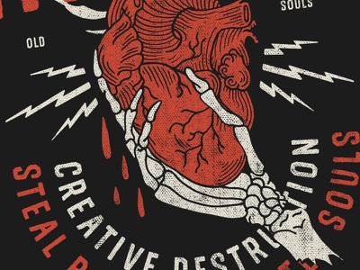 Creative Destruction typography veins lightning illustration blood bones hand skeleton heart