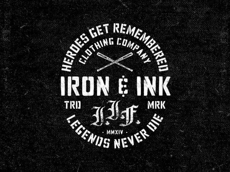 IRON & INK distressed fitness typography bat baseball stencil lockup apparel
