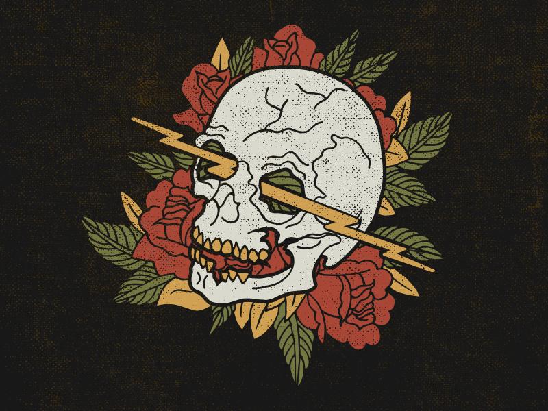SKULL STUDY neutral teeth lightning tattoo leaves illustration roses skull
