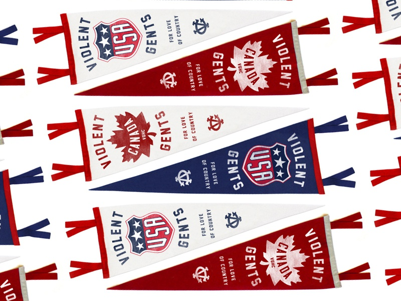 FOR LOVE OF COUNTRY illustration typography shield mapleleaf sports winter olympics canada usa hockey vintage pennants