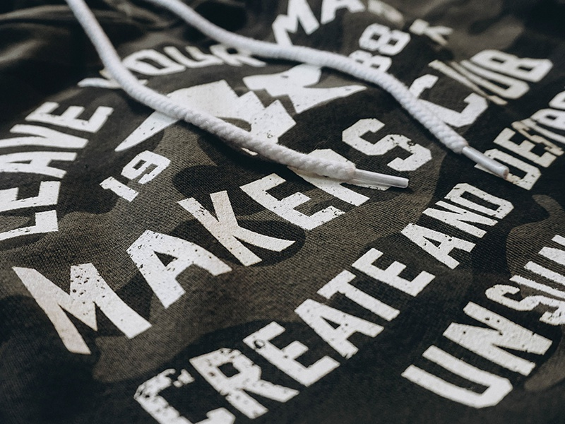 Makers Club distressed unsung tee screenprint anvil typography apparel hoodie